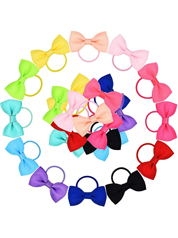 Bememo 50 Pieces Baby Girls Bow Elastic Ties Ponytail Holders Tiny Soft Rubber Bands for Baby Kids (1.8 inch)