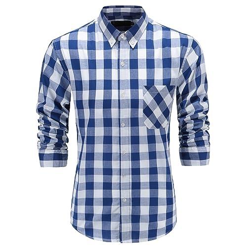 Blue And White Plaid Shirt Mens