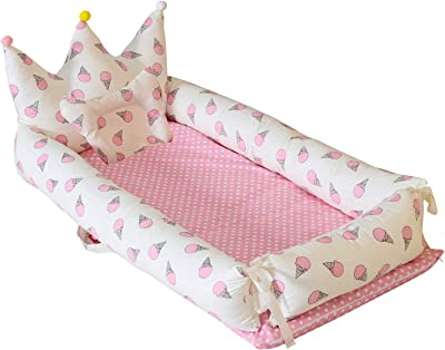 Abreeze Baby Bassinet for Bed -Ice-Cream-Pink Baby Lounger - Breathable & Hypoallergenic Co-Sleeping Baby Bed - 100% Cotton Portable Crib for Bedroom/Travel