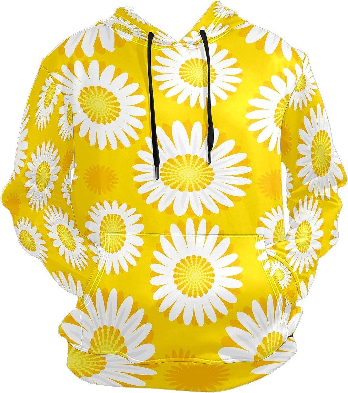 Men's Sport Hoodie Sunflower Yellow Bright Daisy Flower Big and Tall Hoodies for Men Women Oversized Hooded Sweatshirt Hip Hop Pullover Hoodie Midweight Hood for Boys Girls