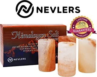 Nevlers All Natural Handcrafted Pink Himalayan Salt Shot Glasses - Great for Tequila Shots - Set of 4 Pieces - 3