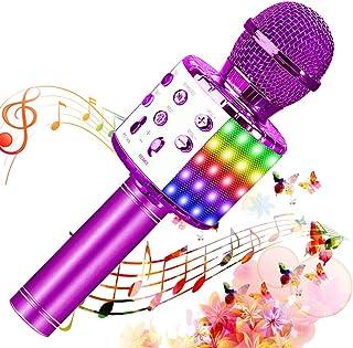 SunTop Micrófono Karaoke Bluetooth, Microfono Inalámbrico Karaoke, Portátil con Altavoz y Luces LED, Reproductor KTV domés...