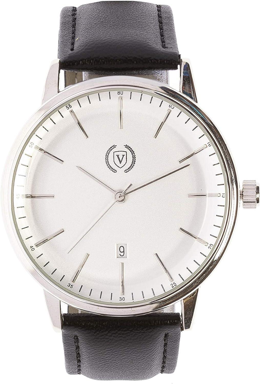 Black White (Reloj analógico para Hombre, Cuarzo, Correa de Piel, Función Calendario) Watch Business Elegantes Tendencia Casual Relojes de Pulsera Regalo