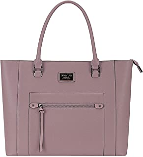 MOSISO Laptop Bag for Women,15.6 Inch Laptop Tote Bag Premium PU Leather Large Capacity Work Business Travel Computer Briefcase Handbag with Thick Shockproof Compartment&Front Zipper Pocket,Purple