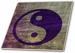 3dRose ct_38560_3 Purple Abstract Yin Yang Balance Inspirational Spirituality Ceramic Tile, 8-Inch