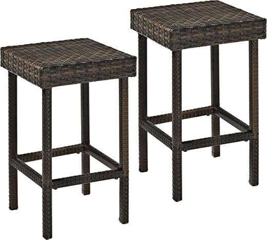 B07TRV4N8C✅Crosley Furniture Palm Harbor Outdoor Wicker 24-inch Stools – Brown (Set of 2) (Renewed)