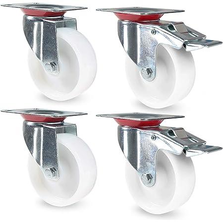 SET 4 Stück Transportrollen Laufrollen Möbelrollen Lenkrollen 2 mit Bremse