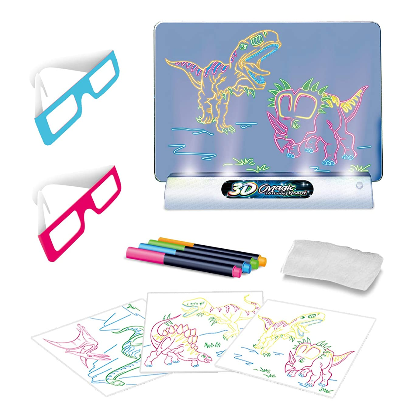 Magic pad for Kids Light up - 3D Light Up Drawing Board – Educational Dinosaur Doodle Magic Glow Pad with 2 3D Glasses - Gift for Kids/Toddlers Boys & Girls Ages 3 -12 Years Old