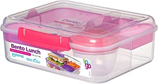 Sistema–Tartera Bento Caja de Almuerzo para IR con Frutas/Yogur Olla, Transparente/Rosa, 1.65L