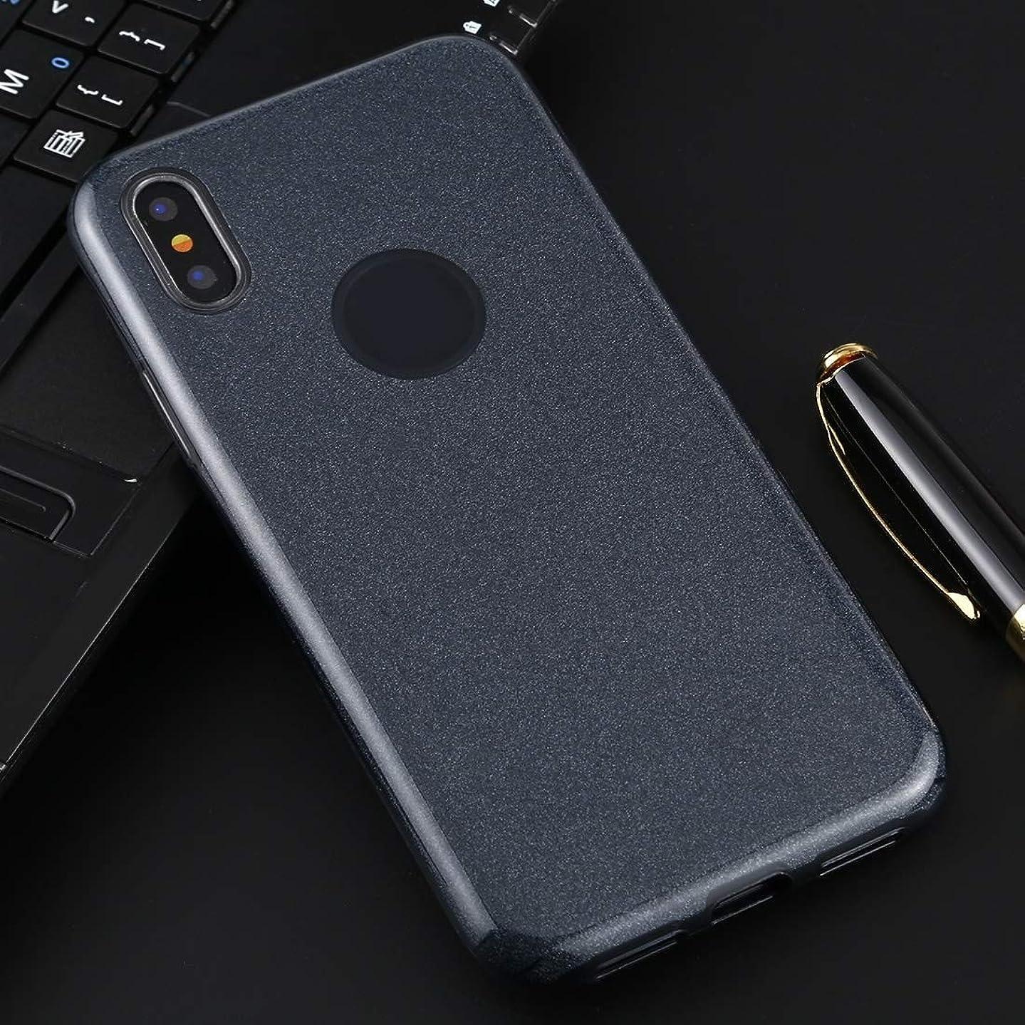 日常的に養う快適IPhone XS/XフルカバレッジTPU + PCキラキラパウダーの保護バックケース用 brand:TONWIN (Color : Dark Blue)
