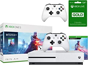 Xbox One S 1TB Battlefield V Bundle: Xbox One S 1TB Console, 2 Wireless Controller, Battlefield V Deluxe Edition, Battlefield: 1943, Battlefield 1 Revolution, 3-month Xbox Live Gold Membership