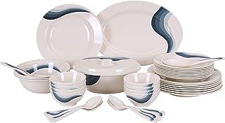 Royalford 40pieces Dinner Set, White, H 27.4 x W 48.8 x D 19.8 cm