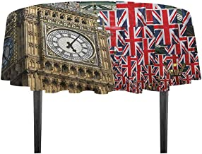 kangkaishi Union Jack Leakproof Polyester Tablecloth UK Flags Background with Big Ben Festive Celebrations Loyalty Dinner Picnic Home Decor D55.11 Inch Pale Coffee Navy Blue Red