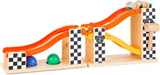 Small Foot 10601 Knock Marble Track Made of Wood in Rally Design with Two Different Coloured Hammer for Ball Pounding