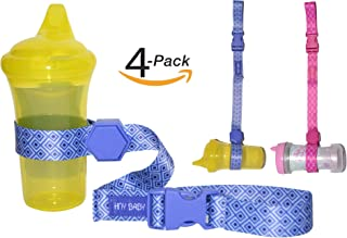Sippy Cup Straps for Baby Bottle Toy Leash 4 Pack for Stroller High Chair Strap (Blue/Pink)