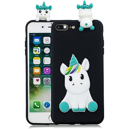 Leton Cover iPhone 8 Plus Silicone Unicorno 3D Morbido TPU Gel Custodia iPhone 7 Plus Antiurto Ultra Sottile Flessibile Gomma Case Protettiva Bumper ...