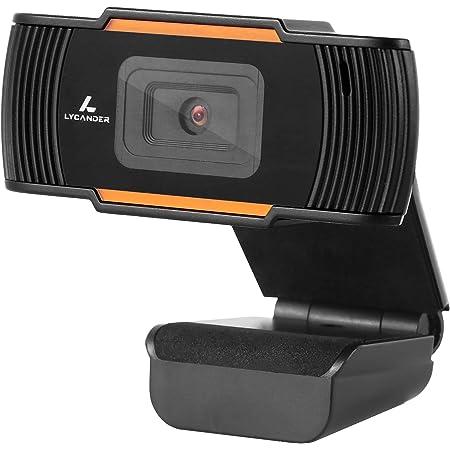 LYCANDER USB Webcam con micrófono incorporado, 1080p Full HD, 30 fps, negro y naranja: para computadora de escritorio, computadora portátil, Windows, Mac, Linux, reuniones en línea, videoconferencias