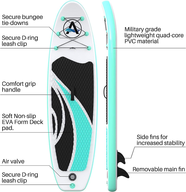 ailettes de Fond pour pagaie AWESAFE Planche de Paddle Gonflable avec Accessoires Sup//ISUP de qualit/é sup/érieure Comprenant Sac /à Dos Laisse Pompe /à Main Pont antid/érapant