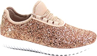 FZ-Remy-18 Women's Fahsion Sparkling Glitter Lace Up Light Weight Sneaker Shoes
