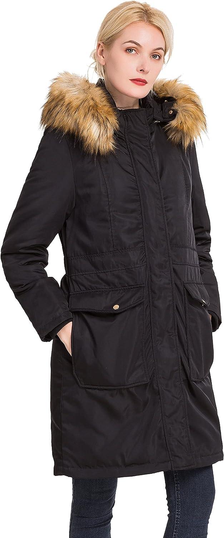 Polydeer Women's Vegan Down Hooded Long Jacket,Waterproof Thickened Winter Coat w/ Faux Fur, Full Zip Warm Puffer Parka