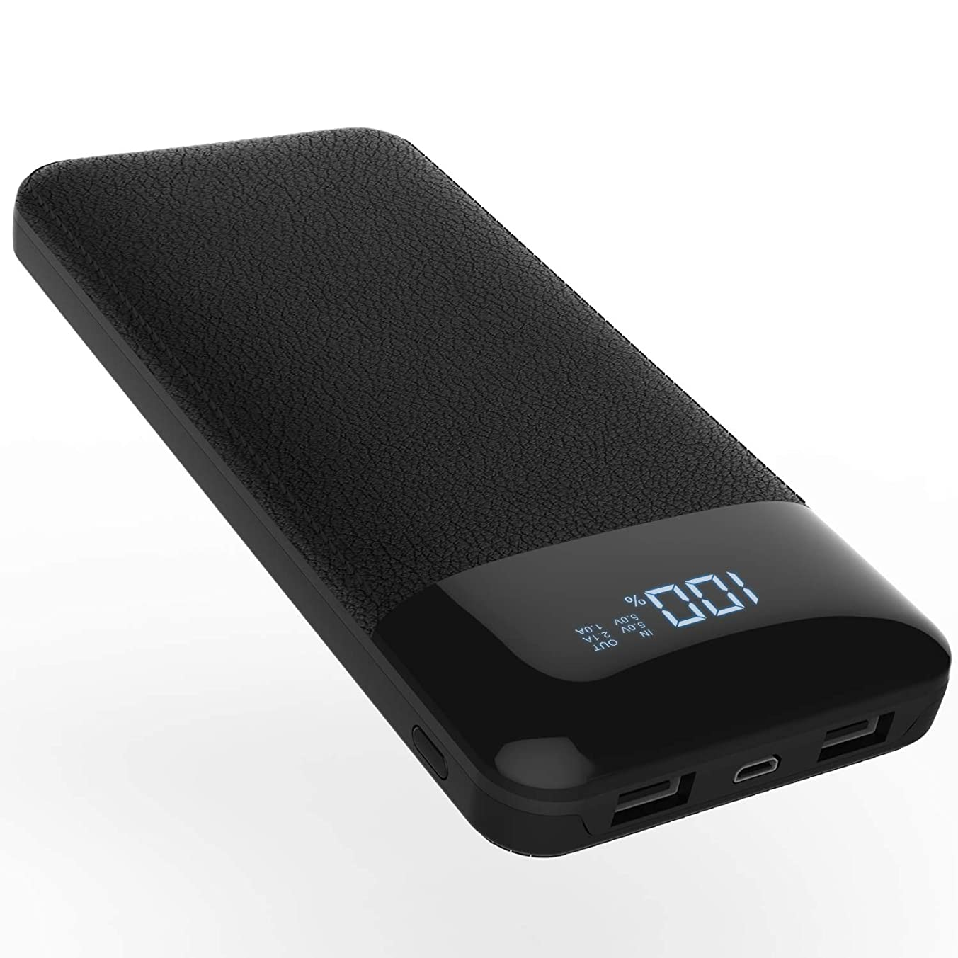 Todamay Power Bank 24000mAh Portable Charger External Battery with LCD Display, 2.1A Input Port and 2 Charging Ports for Smartphone and Other Devices, Black