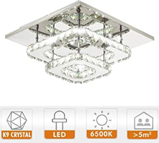 Ganeed Crystal LED Ceiling Light,12 Inch Stainless Steel K9 Modern Flush Mount Lights Fixture,Two Layers Square Chandelier Ceiling Lamp for Dining Living Room Bedroom(36W / 6500K / Cool White)