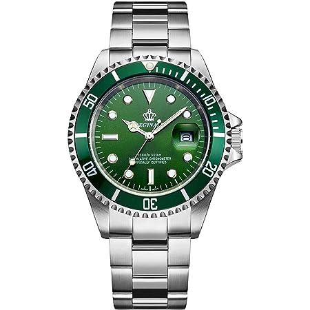 腕時計メンズ 防水性 回転ベゼル 国内クォーツ ステンレス ベルト 箱付き グリーン ギフトウォッチ