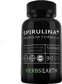 Spirulina + Premium Blue-Green Algae Potent Immune Booster Superfood 500 mg, NON-GMO 100 For Eye, Skin, Heart Health Poten...