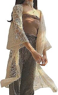 [サコイユ] 透け感 ロング カーディガン レース 編み風 シースルー 羽織 トップス レディース カーデガン アウター