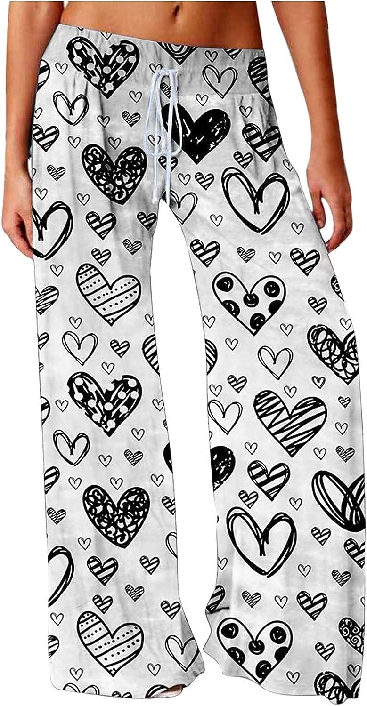 JINRS Women's Wide Leg Yoga Pants Workout Lounge Pants Comfy Pajamas Pants with Pockets High Waist Printing Easy Trousers