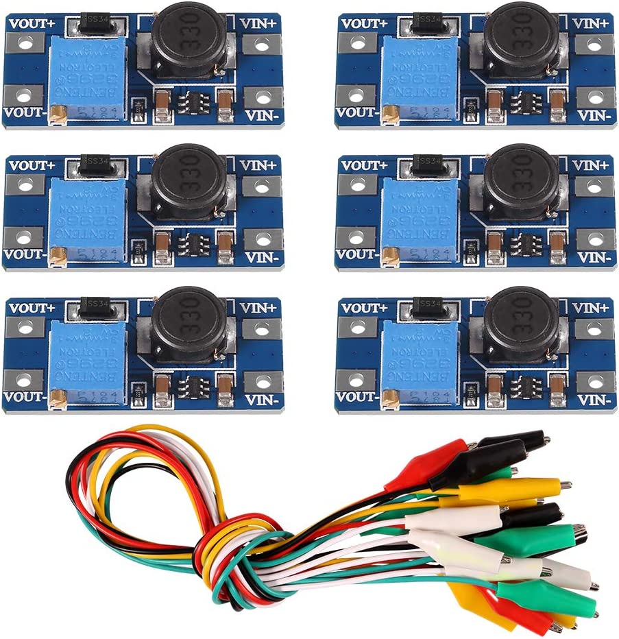 6PCS MT3608 DC to DC Step Up Converter Regulator Voltage Converter Module Boost Converter USB Power Module Power Supply Module with 10PCS Alligator Clip with Wire 2A DIY