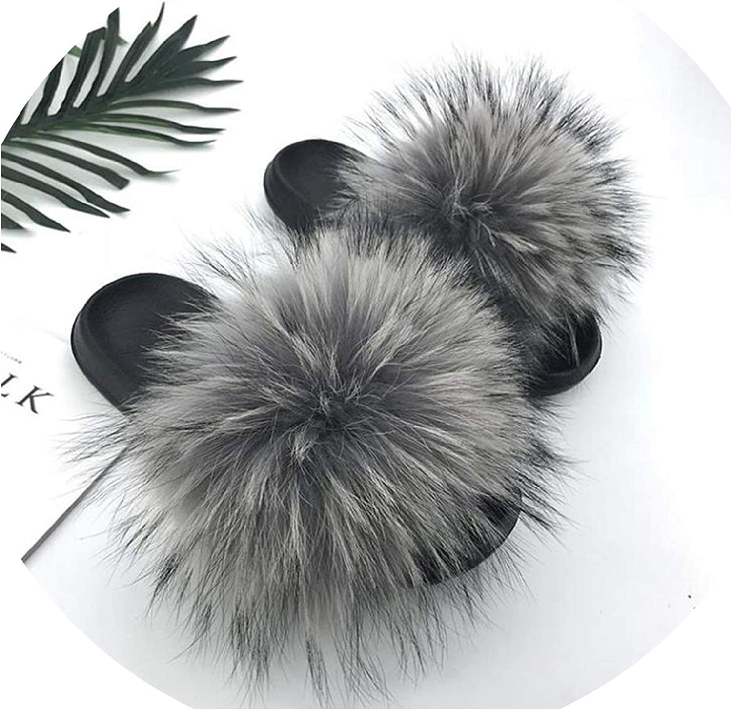 Just XiaoZhouZhou Real Raccoon Fur Slippers Women Sliders Casual Fox Hair Flat Fluffy Fashion Home Summer Big Size 45 Furry Flip Flops shoes,Grey 2,9.5