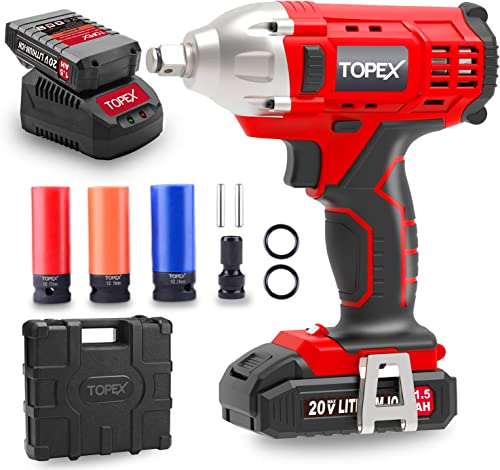 """TOPEX 2IN1 20V Cordless Impact Wrench Driver 1/2"""" 1500mAh Li Battery W/Sockets (One Battery)"""