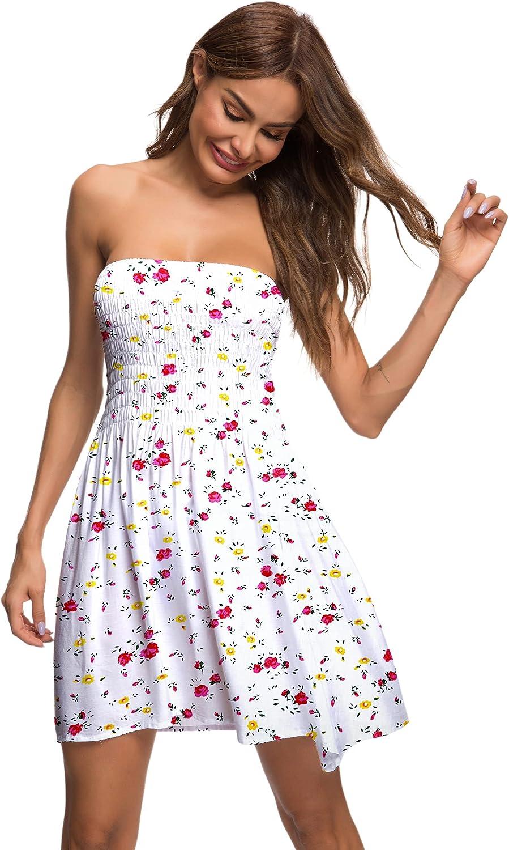 Pinksong Women's Sleeveless Beach Mini Dress Summer Sexy Tube Top Dress