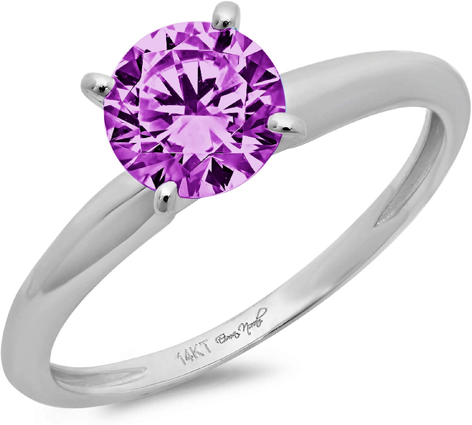 0.45 ct Brilliant Round Cut Solitaire Flawless Simulated CZ Purple Alexandrite Ideal VVS1 4-Prong Engagement Wedding Bridal Promise Anniversary Designer Ring in Solid 14k White Gold for Women