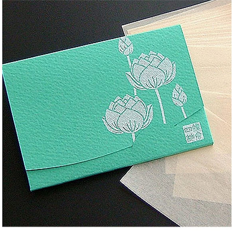 征服するソーダ水パッド季節の花 蓮(緑) 「絹すき」 短冊サイズ