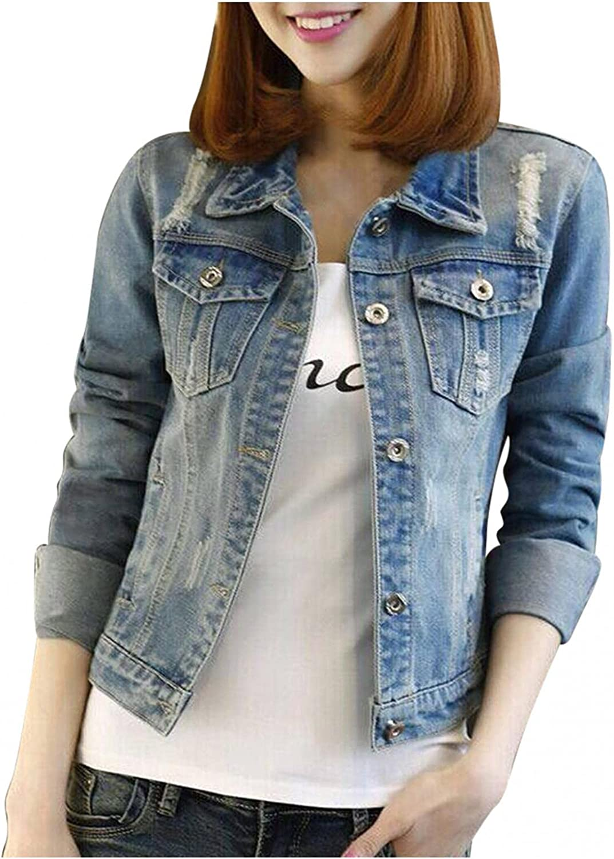 Denim Jacket for Womens Long Sleeve Jeans Tops Trucker Coat Outerwear Girls Fashion Slim Lapel Outercoat Windbreaker