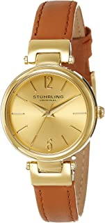Stuhrling Original Women's 956.02 Symphony Gold-Tone Watch with Brown Genuine Leather Band