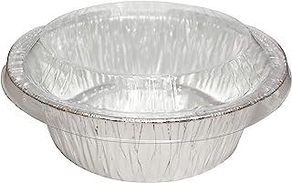 Alsea 5 Inch Pie/Tart Pans w/Lids Light Duty Disposable Aluminum Foil Individual Baking Tins (Pack of 50)