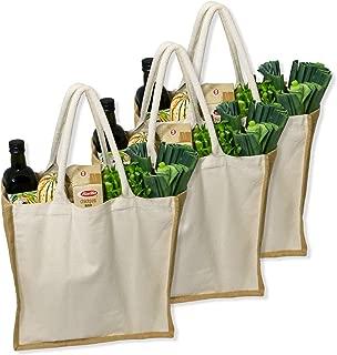 Simple Ecology Organic Canvas & Jute Reusable X-Large Tote & Grocery Shopping Bag - 3 Pack (heavy duty, comfortable & durable handles, foldable, craft & gift bag, burlap bag, handbag)