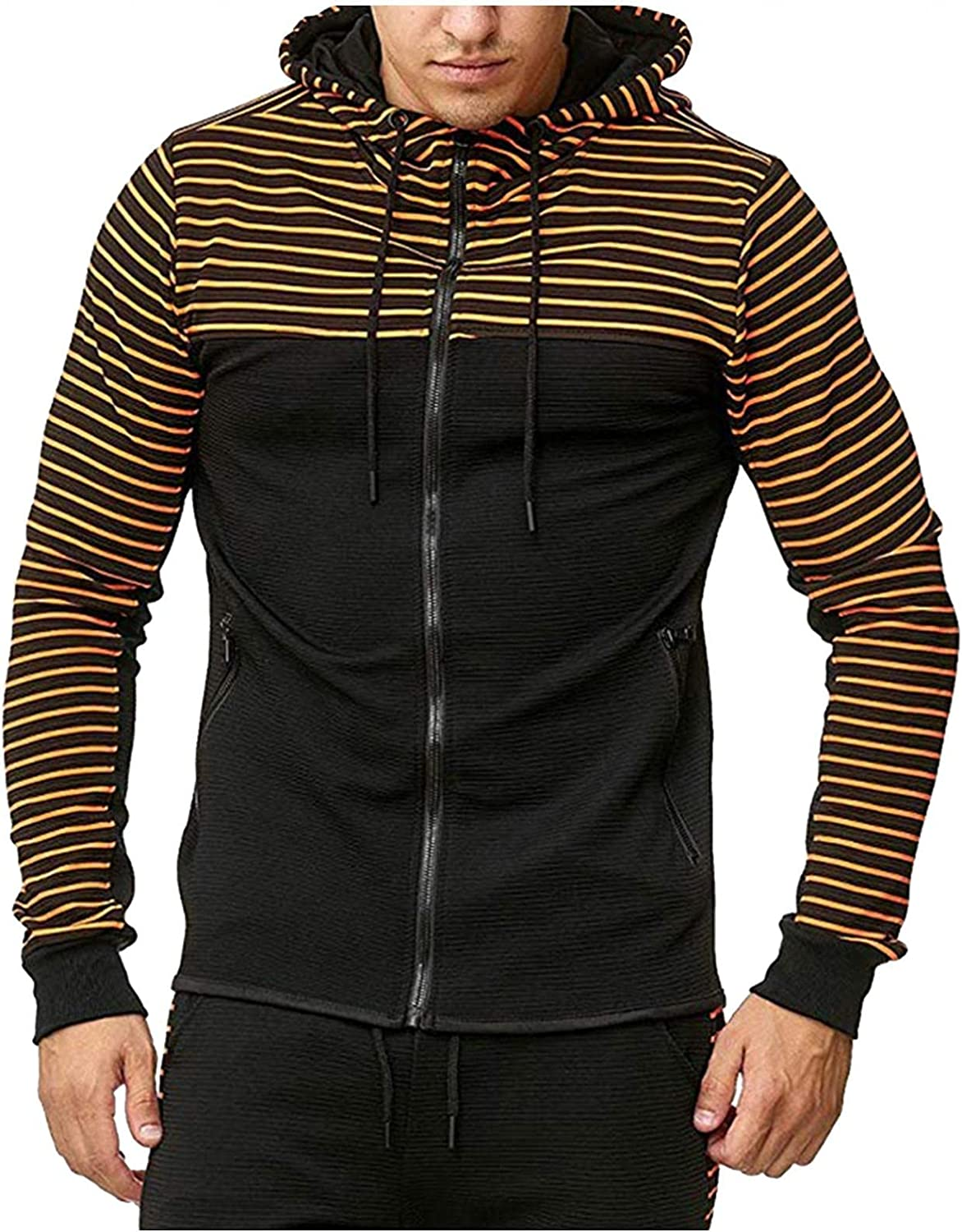 Qsctys Limited price Men's Sweatshirts Hooded Zip Sleeve Shirts Up List price Long Casual