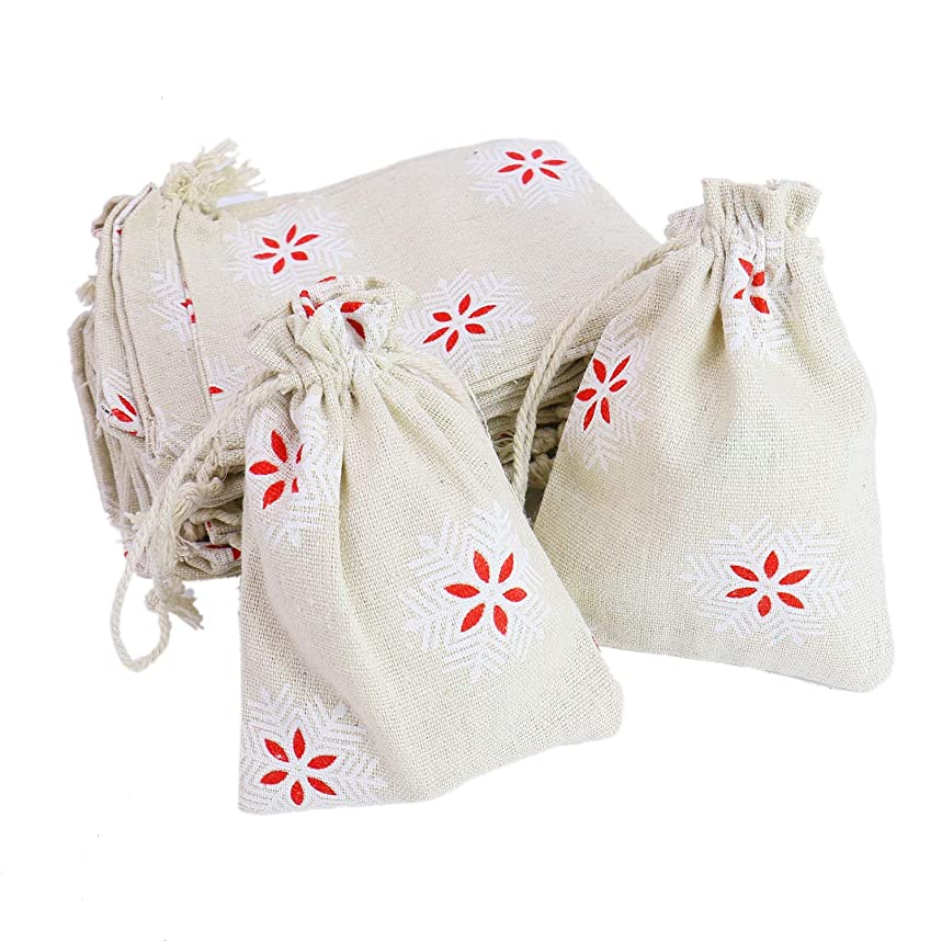 Monrocco 20 Pack Drawstring Bag with Snowflake Pattern Burlap Favor Bags Gift Pouches for Wedding or Party Decorations Party DIY Arts