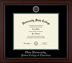 Ohio University Patton College of Education - Officially Licensed - PhD - Silver Embossed Diploma Frame - Diploma Size 15