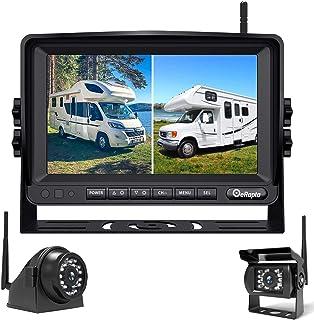 eRapta Digital Wireless Dual Backup Camera, HD Camera System Kit with CCD Chip, 7''1080P Reversing Monitor+IP69 Waterproof...
