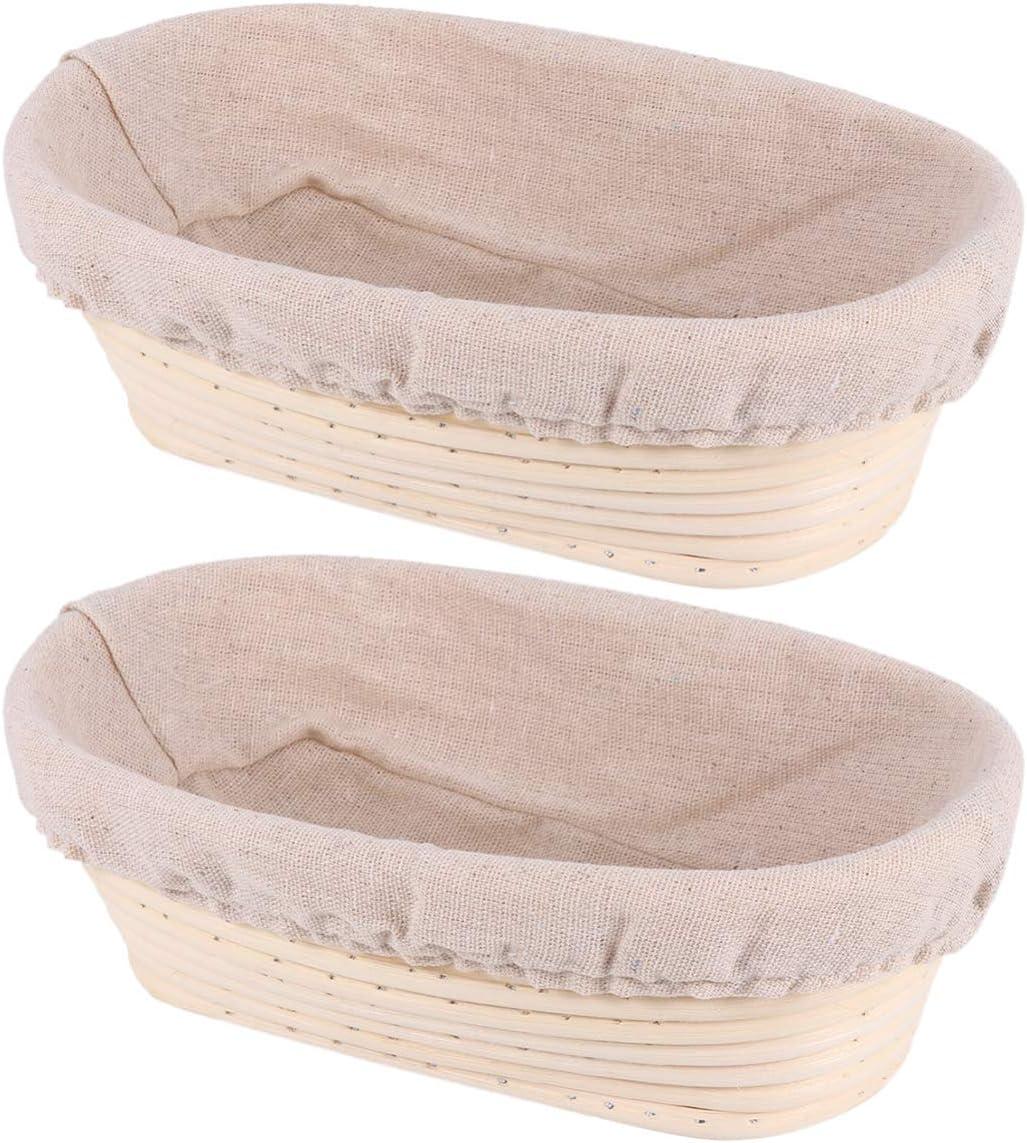 Yardwe 2 Sets 7.8 Ultra-Cheap Deals inch Oval Bread Banneton Long Basket San Diego Mall Proofing