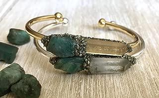 Emerald May birthstone bracelet gemstone bangle crystal cuff birthday raw boho jewelry stone