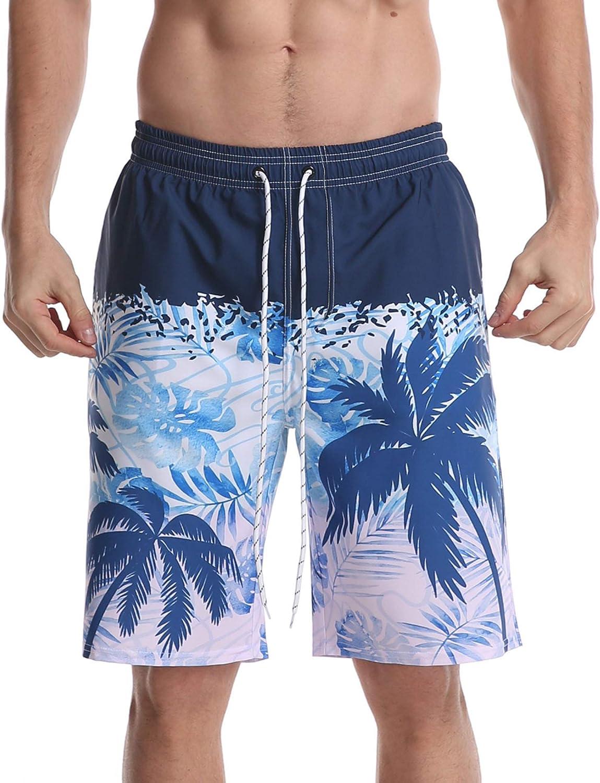 HONG DI HAO Men's Swim Trunks Quick Dry Board Shorts Beach Holiday Bathing Suit Print Swimwear…