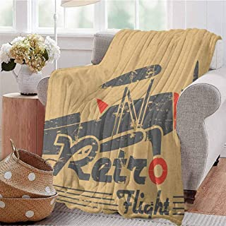 Luoiaax Vintage Airplane Rugged or Durable Camping Blanket Retro Flight Emblem with Old Plane Stripes Grunge Style Warm and Washable W54 x L72 Inch Sand Brown Grey Vermilion