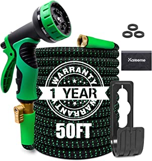 KAREEME 50FT Garden Hose Expandable Water Hose Lightweight with 9 Spray Nozzle, Extra Strength Fabric, No-Kink, Durable Flexible Garden Hose, 3/4