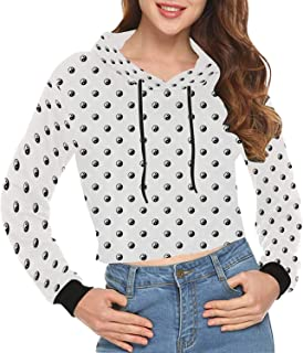 Modern Decor Print Crop Hoodie for Vacation